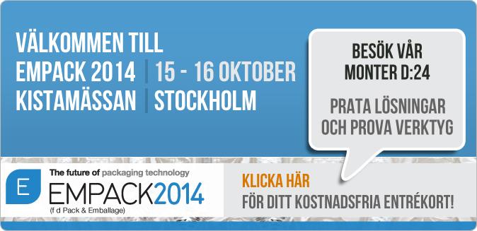 Förpackningsmässan EMPACK 2014,  15 - 16 oktober - Kistamässan i Stockholm